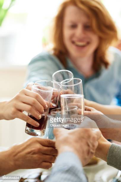 family members clinking glasses at dinner - cliqueimages stockfoto's en -beelden