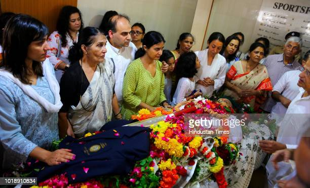 Family members during the funeral of Ajit Wadekar at Worli on August 17 2018 in Mumbai India Former India captain Ajit Wadekar was cremated at the...