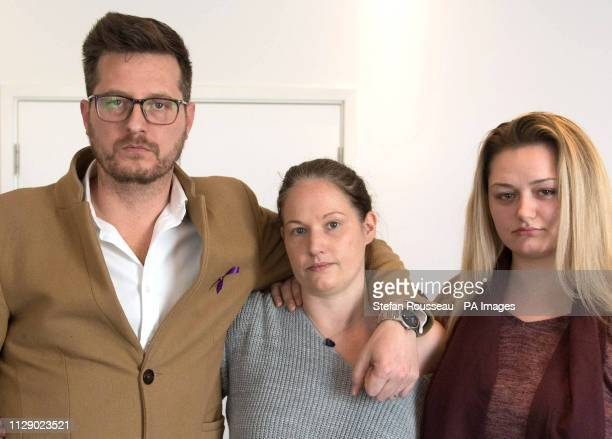 Family members father Peter stepmother Joanne and sister Lucy of murdered teenager Jodie Chesney at New Scotland Yard in London