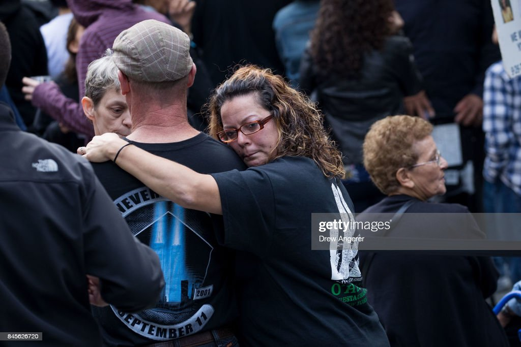 Family members, first responders and others attend a commemoration ceremony for the victims of the September 11 terrorist attacks at the National September 11 Memorial, September 11, 2017 in New York City. In New York City and throughout the United States, the country is marking the 16th anniversary of the September 11 terrorist attacks.