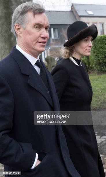 Family members follow the hearse at the funeral service for Count Philippe de Lannoy at FrasnesLezAnvaing Wednesday 16 January 2019 The Count died at...