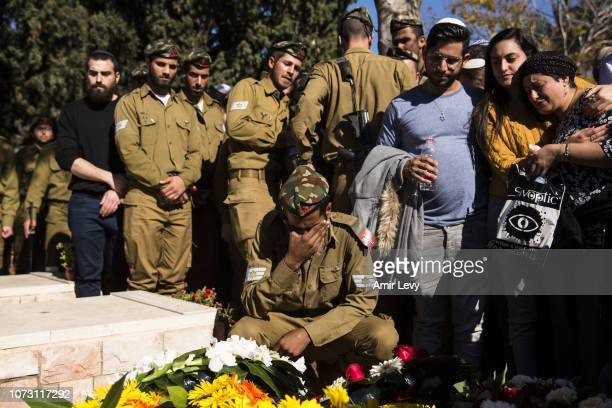 Family members friends and soldiers morn during the funeral of Israeli soldier Yovel Mor Yosef on December 14 2018 in Ashkelon Israel Yovel Mor Yosef...