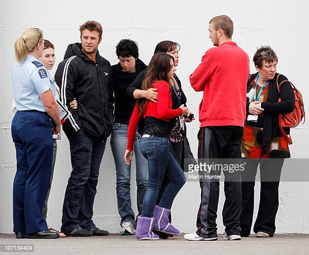 Family members gather before a visit by Prime Minister John Key to meet with families of the lost miners on November 25 2010 in Greymouth New Zealand...