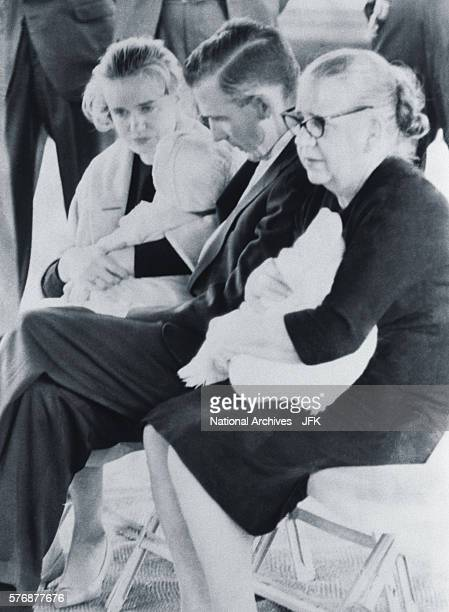 Family members mourn the death of Lee Harvey Oswald at his funeral at Rose Hill Memorial Park in Fort Worth Texas on November 25 1963 Marina...