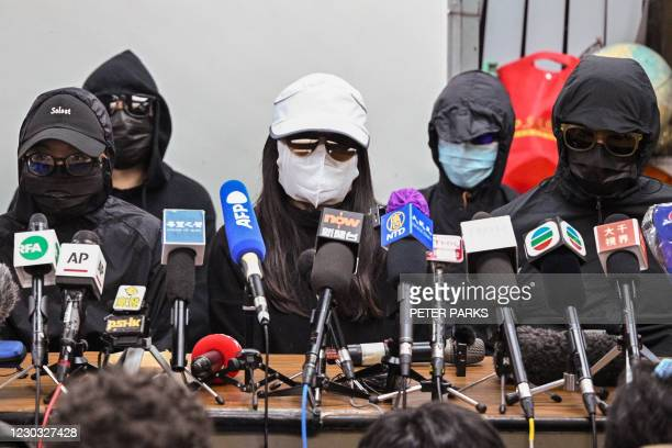 Family members of a group of Hong Kong democracy activists, who tried to flee the city by speedboat to Taiwan last August, hold a press conference in...