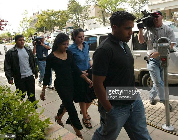 Family members of accused murderer Marcus Wesson Almae Wesson Kiani Wesson Rosie Solorio and Serafino Wesson arrive at the court house for Wesson's...