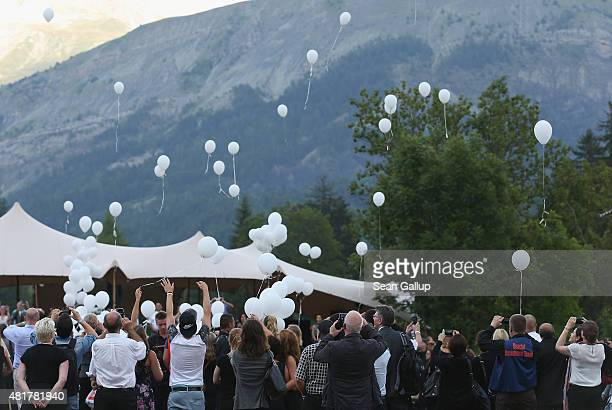 Family members of Germanwings flight 4U9525 crash victims release 149 balloons one each to represent a victim following a memorial ceremony for the...