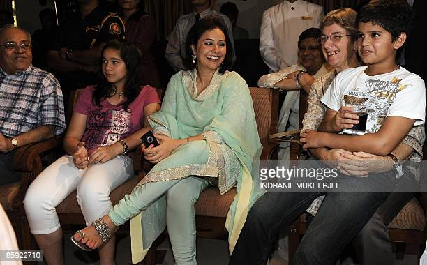 Family members of Indian cricketer Sachin Tendulkar fatherinlaw Anand Mehta daughter Sara wife Anjali motherinlaw Annabel Mehta and son Arjun react...