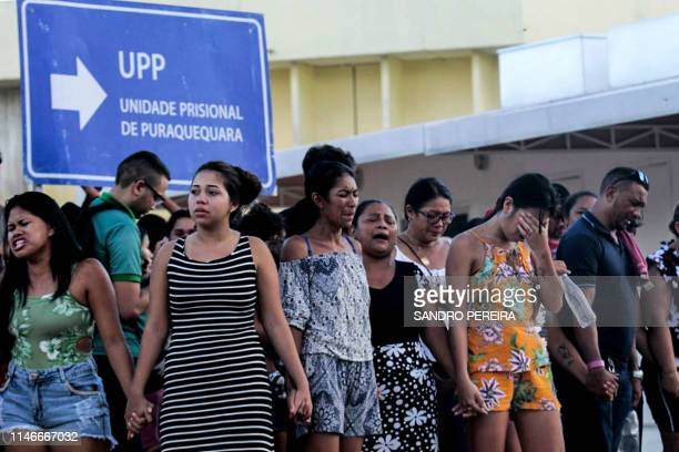 TOPSHOT Family members of inmates are pictured praying in front of the Puraquequara Prison facility at Bela Vista community Puraquequara neighborhood...