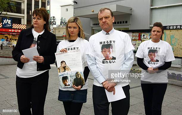 Family members of Lindsay Ann Hawker, Julia Hawker, Lisa Hawker, Bill Hawker and Louise Hawker arrive at Gyotoku station to distribute flyers to...