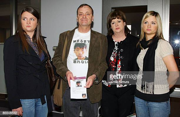 Family members of Lindsay Ann Hawker Louise Hawker Bill Hawker Julia Hawker and Lisa Hawker arrive at the Narita International Airport on March 22...