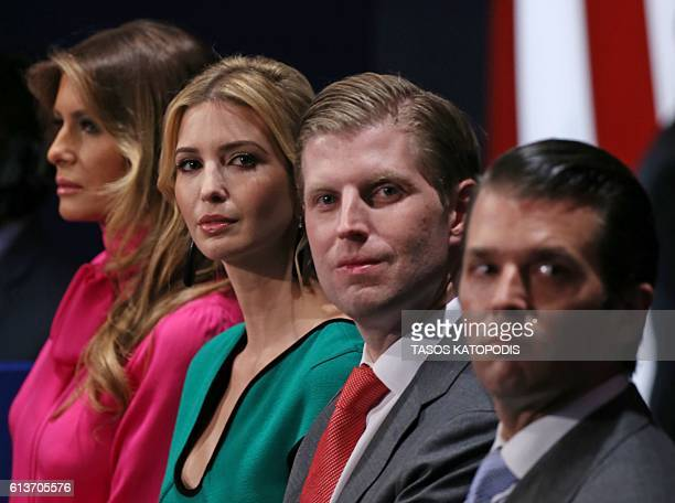 Family members of Republican presidential nominee Donald Trump, wife Melania Trump, daughter Ivanka Trump, and sons Eric Trump and Donald Trump Jr....
