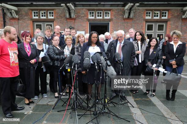 Family members of the 96 Hillsborough victims address the media after they were told the decision that the Crown Prosecution Service will proceed...