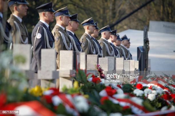Family members of the deceased and military personnel are seen on 10 April 2017 at the commemoratin of the vicitims of the 2010 Smolensk plane crash...