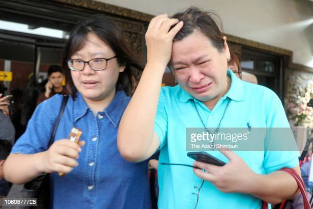 Family members of the missing passengers shed tears as the Indonesian low cost carrier Lion Air flight JT 610 crashed off Jakarta after taking off at...