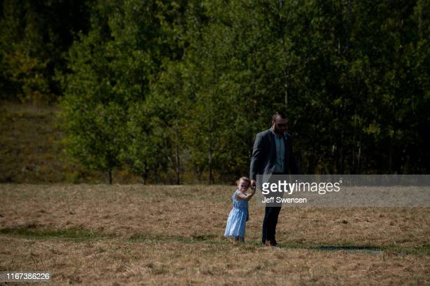 Family members of the September 11 terrorist attack victims along with US Vice President Mike Pence and his wife Karen visit the crash site at the...