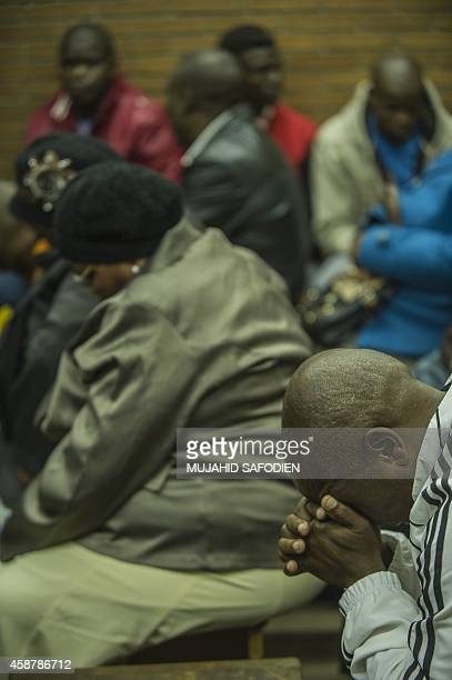 Family members of the suspect accused of Bafana Bafana captain Senzo Meyiwa's murder attend a prebail hearing at the Boksburg Magistrate's Court on...
