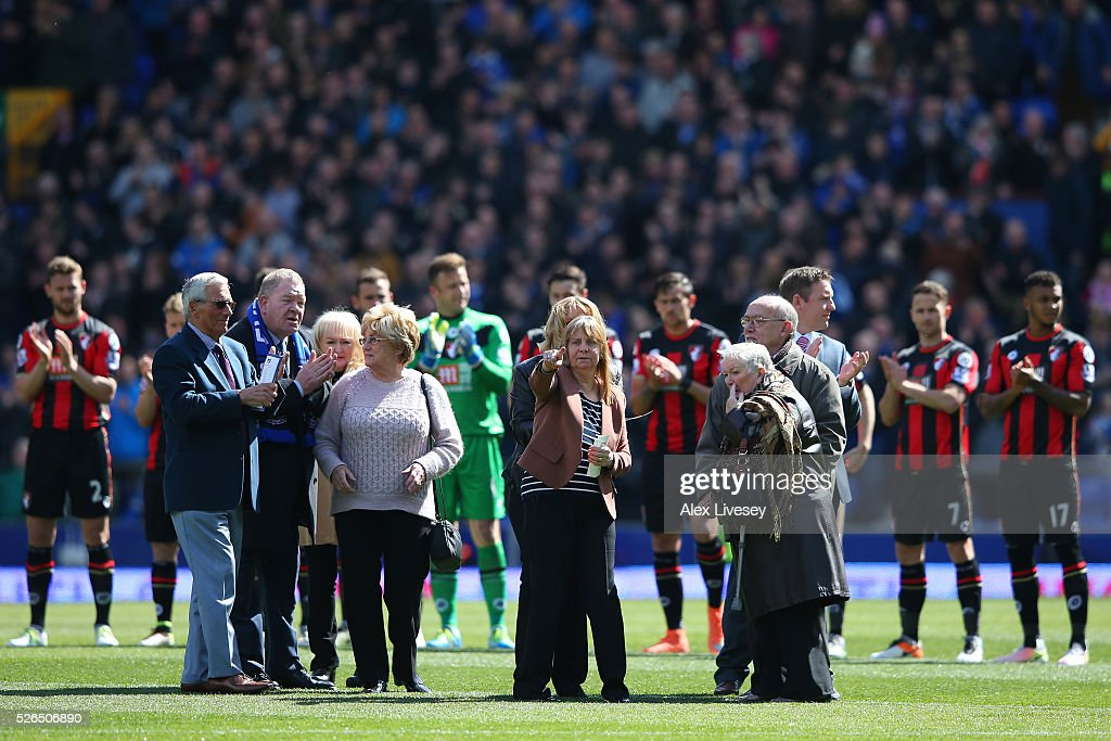 Family members of the victims of the Hillsborough disaster are seen prior to the Barclays Premier League match between Everton and A.F.C. Bournemouth at Goodison Park on April 30, 2016 in Liverpool, England.