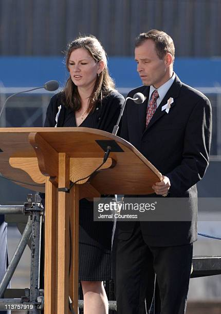 Family members of the victims of the September 11 terror attacks read the names of those lost on September 11 2001 during the ceremony to commemorate...