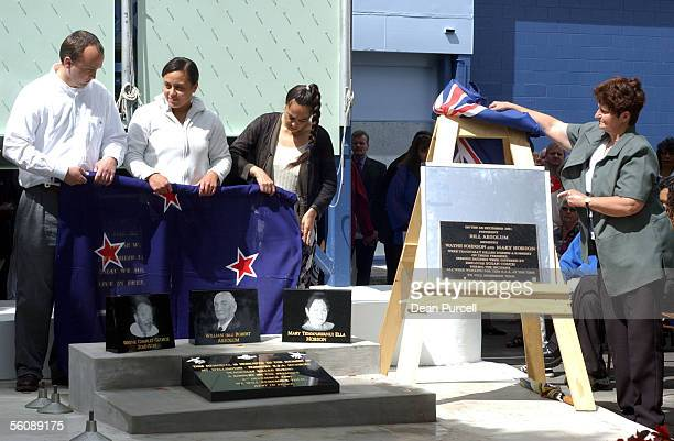 Family members of the victims that were beaten and murdered in an armed robbery at the Mt WellingtonPanmure RSA one year ago unveil three plaques...