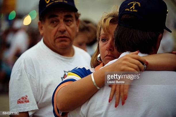 Family members of those lost in the Oklahoma City bombing grieve as they watch the remains of the Alfred P Murrah building be demolished On April 19...