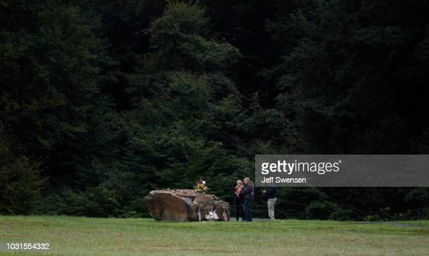 Family members place flowers on the rock marking the impact site after listening to President Donald Trump deliver a speech at the Flight 93 National...