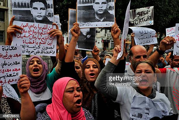 Family members representing an antitorture organization held a protest near the Minister of the Interior's office in Tunis As the current government...