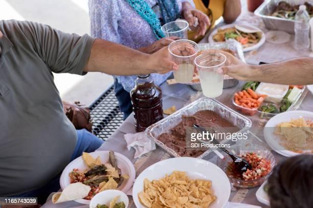 ピクニック中に家族が乾杯 - ポットラック ストックフォトと画像