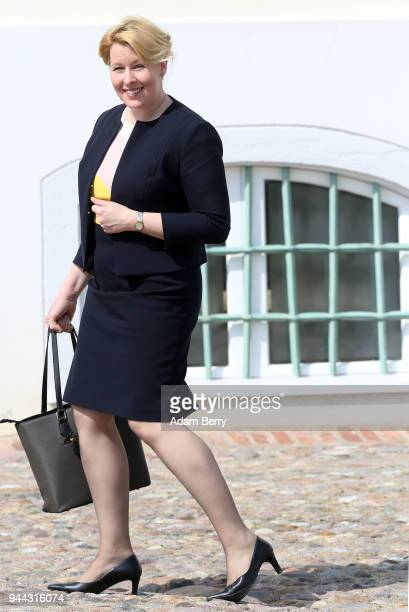 Family Minister Franziska Giffey arrives for a government retreat at Schloss Meseberg on April 10 2018 in Gransee Germany The government Cabinet is...