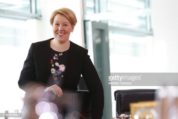 Family Minister Franziska Giffey arrives for the weekly German government cabinet meeting on February 27 2019 in Berlin Germany Among items on the...