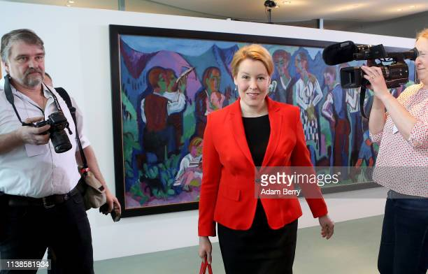 Family Minister Franziska Giffey arrives for the weekly German federal Cabinet meeting on March 27 2019 in Berlin Germany High on the meeting's...