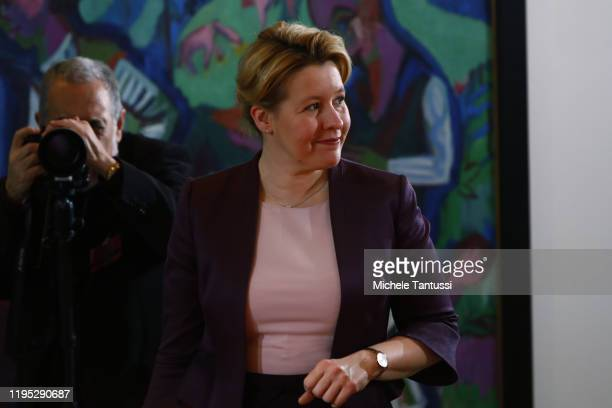 Family Minister Franziska Giffey arrives for the weekly government cabinet meeting on January 22 2020 in Berlin Germany High on the morning agenda...