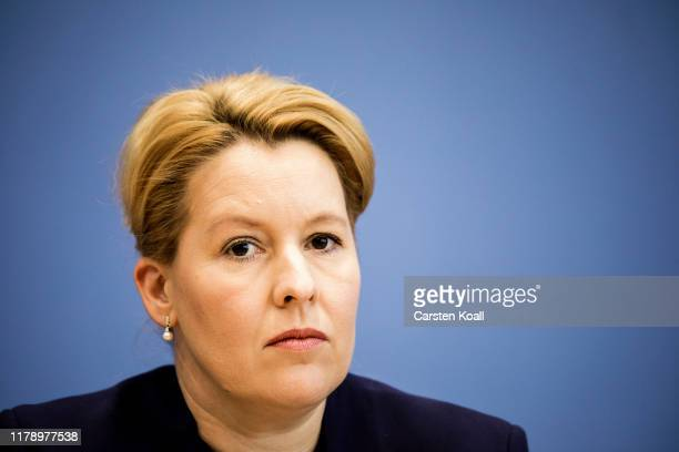 Family Minister Franziska Giffey participates a pressconference together with Justice Minister Christine Lambrecht and Interior Minister Horst...