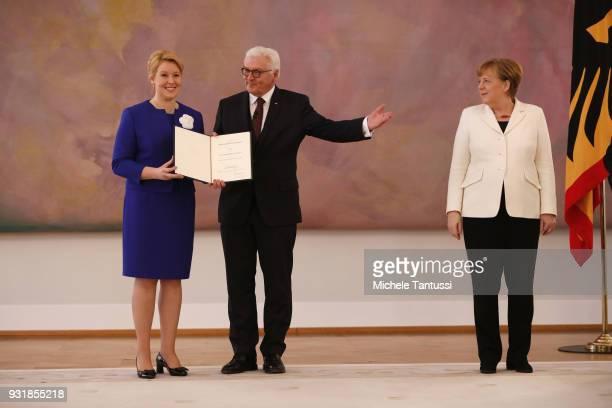 Family Minister Franziska Giffey takes her oath From German President FrankWalter Steinmeier and Germany Chancellor Angela Merkel to serve as...