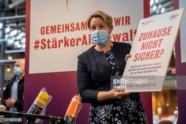 Family Minister Franziska Giffey talks to the press during a launch of the campaign Not safe at home against domestic violence on April 29 2020 in...