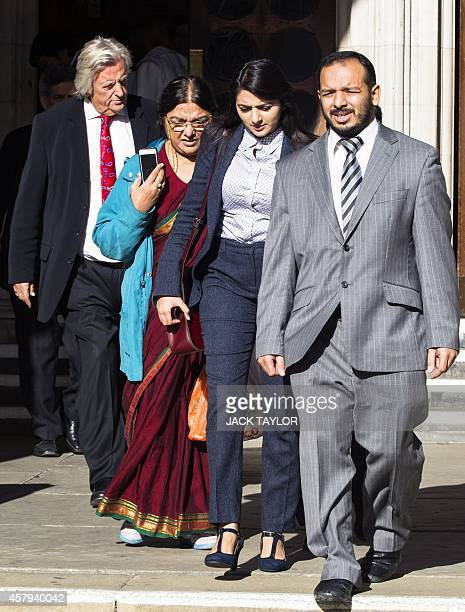 Family of Abbas Khan the British doctor who died in a Syrian jail last year his mother Fatima sister Sara and brother Afoze leave the Royal Courts of...