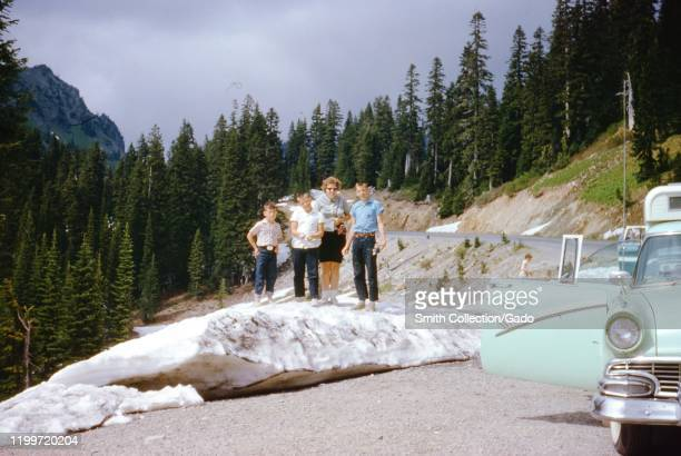A family of American tourists stands and poses on a rock beside the road in Acadia National Park Mount Desert Island Maine with their lime green...