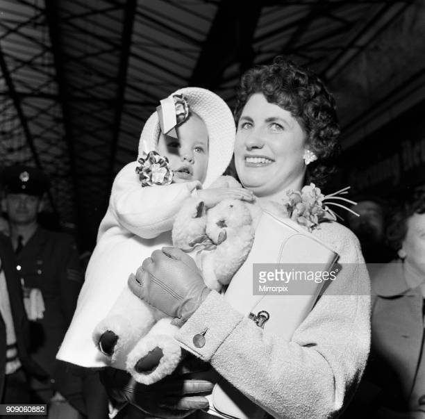 Family of Aston Villa Team arrive in London for FA Cup Final v Manchester United Friday 3rd May 1957