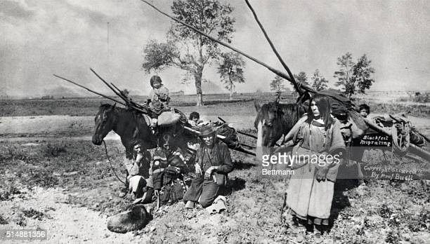 A family of Blackfeet Indians migrating to Eastern Canada The smaller children and the family property are being carried on a 'Travois' Photograph