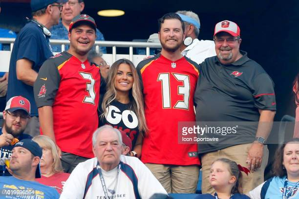 A family of Bucs fans show their support during the preseason game between the Tennessee Titans and Tampa Bay Buccaneers on August 18 2018 at Nissan...