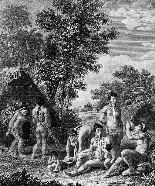 A family of Carib, or Kalinago, people on the island...