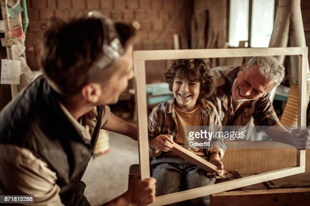 family of carpenters - multigenerational family stock photos and pictures