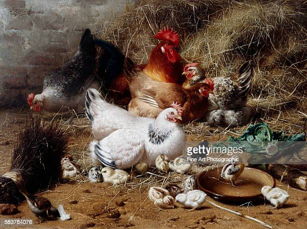 A Family of Chickens by Eugene Remy Maes