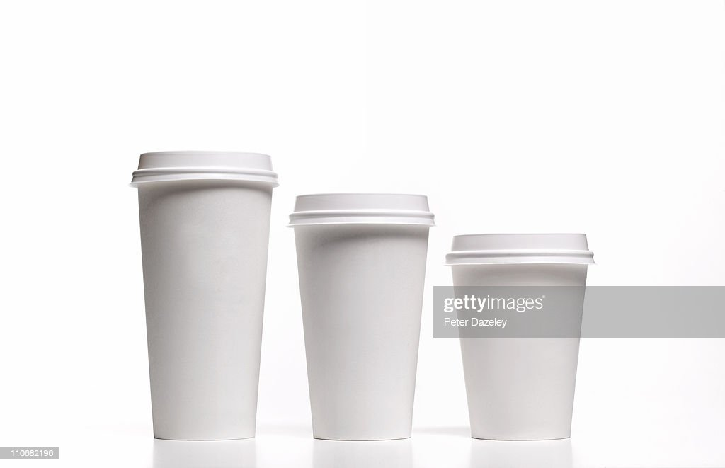 Family of disposable coffee/tea cups : Stock Photo