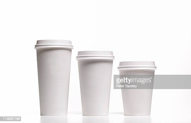 family of disposable coffee/tea cups - single use stock pictures, royalty-free photos & images