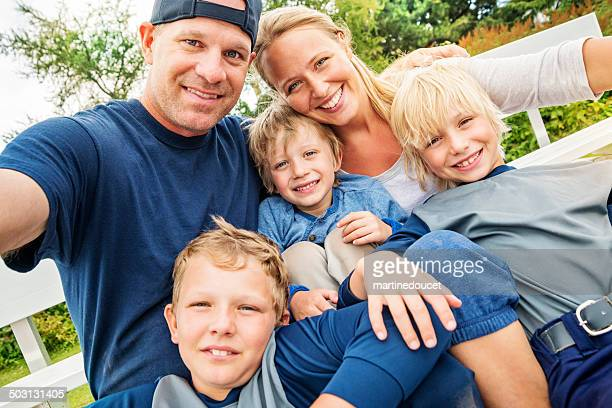 Family of five selfie after a baseball game.