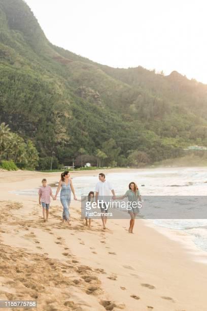 fünf fünf-mitglieder gehen zusammen am strand entlang und halten die hände - pazifikinseln stock-fotos und bilder