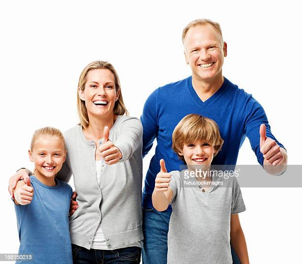 Family of Four Giving the Thumbs Up - Isolated