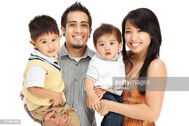 Family of Four on White