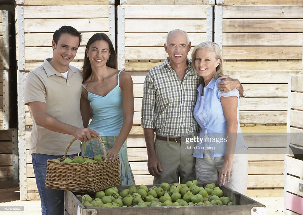 Family of Four Standing By a Crate of Pears : Stock Photo